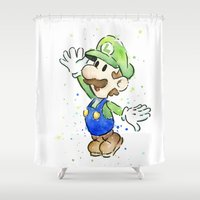 luigi Shower Curtains featuring Luigi Watercolor Art by Olechka