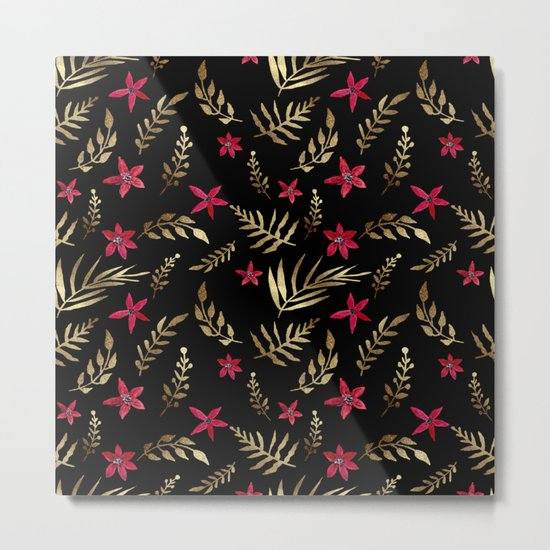 Golden palm tropical glitter leaves and red flowers on black Metal Print
