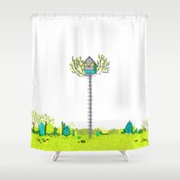 moonrise kingdom Shower Curtains featuring Moonrise Kingdom Fanart by Alxndra Cook