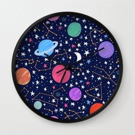Astrology Zodiac Constellation in Midnight Blue Wall Clock