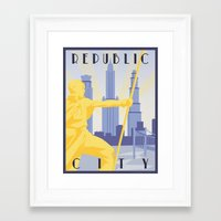 travel poster Framed Art Prints featuring Republic City Travel Poster by HenryConradTaylor