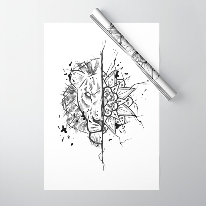 Lion Mandala Handmade Drawing Made In Pencil And Ink Tattoo Sketch Tattoo Flash Blackwork Wrapping Paper By Lucagenart