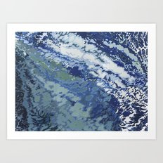 Deep Blue Ocean Wake Art Print