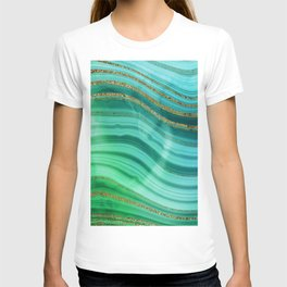 Ocean Blue And Green Mermaid Glamour Marble T-shirt