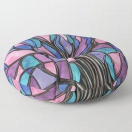 Mystic Tree of Life Mosaic Purples Watercolor Floor Pillow