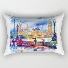 London Rain watercolor Rectangular Pillow
