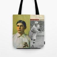 bender Tote Bags featuring Baseball Vintage Bender by Art Lahr