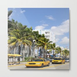 Yellow Cabs On Ocean Drive Metal Print