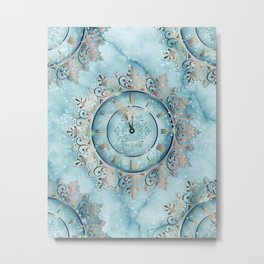 Clock Christmas mandala Metal Print