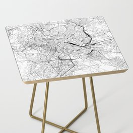 Rome White Map Side Table