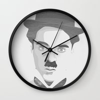 charlie chaplin Wall Clocks featuring Chaplin by Beitebe