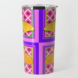 Decorative Golden Butterflies Purple Pink Pattern Art Travel Mug