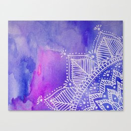 Mandala flower on watercolor background - purple and blue Canvas Print