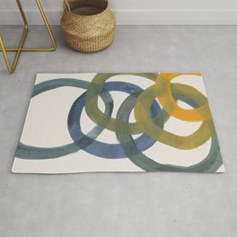 Minimalist Mid Century Modern Colorful Rings Navy Blue Yellow Olive Green Spirals by Ejaaz Haniff Rug