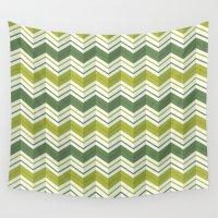 avocado Wall Tapestries featuring CHEVRON STRIPES - AVOCADO by Daisy Beatrice