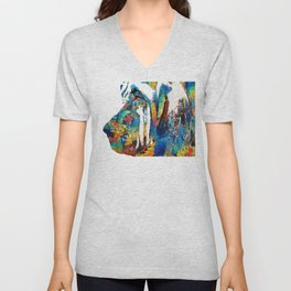 Colorful Bloodhound Dog Art By Sharon Cummings Unisex V-Neck