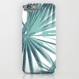 Teal Aqua Tropical Beach Palm Fan Vector iPhone Case