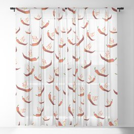 Hot Red Peppers Sheer Curtain