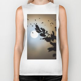 Bats in a Full Moon on Halloween Biker Tank