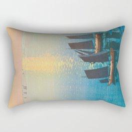 Glittering Sea (Hikaru Umi) Hiroshi Yoshida Modern Japanese Woodblock Print Rectangular Pillow