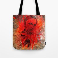 quentin tarantino Tote Bags featuring Quentin by Rabassa