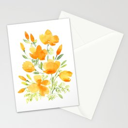 Watercolor california poppies bouquet Stationery Cards