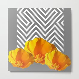 ABSTRACT CONTEMPORARY YELLOW POPPIES PATTERNS Metal Print