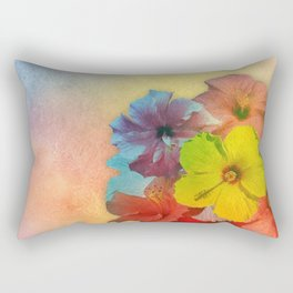 Colorful Hibiscus Bouquet Rectangular Pillow