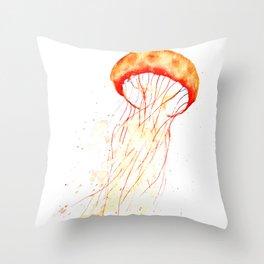 orange jellyfish watercolor Throw Pillow