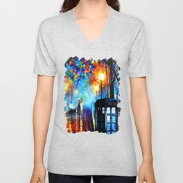 STARRY NIGHT TARDIS Unisex V-Neck