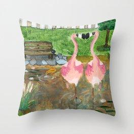 Yard Flamingo Koi Pond Throw Pillow