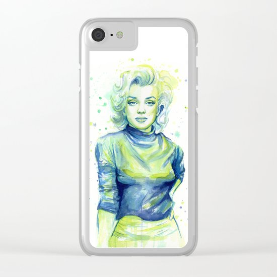 Marilyn Portrait Watercolor Painting Actress Old Hollywood Clear iPhone Case