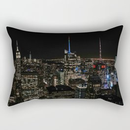 Skyline by night The Top of The Rock | Colourful Travel Photography | New York City, America (USA) Rectangular Pillow