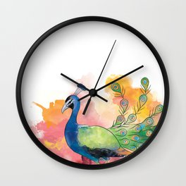 indian peafowl Wall Clock