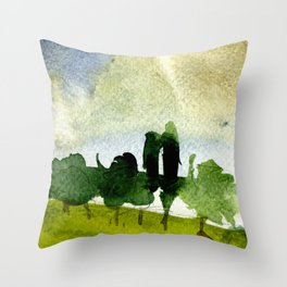 watercolor sky & trees Throw Pillow