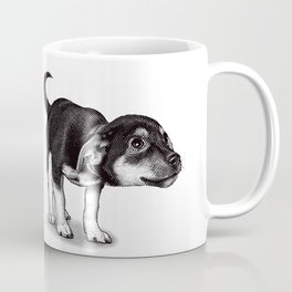 Cute cautious puppy wagging it's tail. Coffee Mug