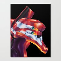 evangelion Canvas Prints featuring Evangelion EVA-02 by Etienne Chaize