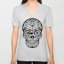 Vintage Mexican Skull with Bicycle - black and white Unisex V-Neck