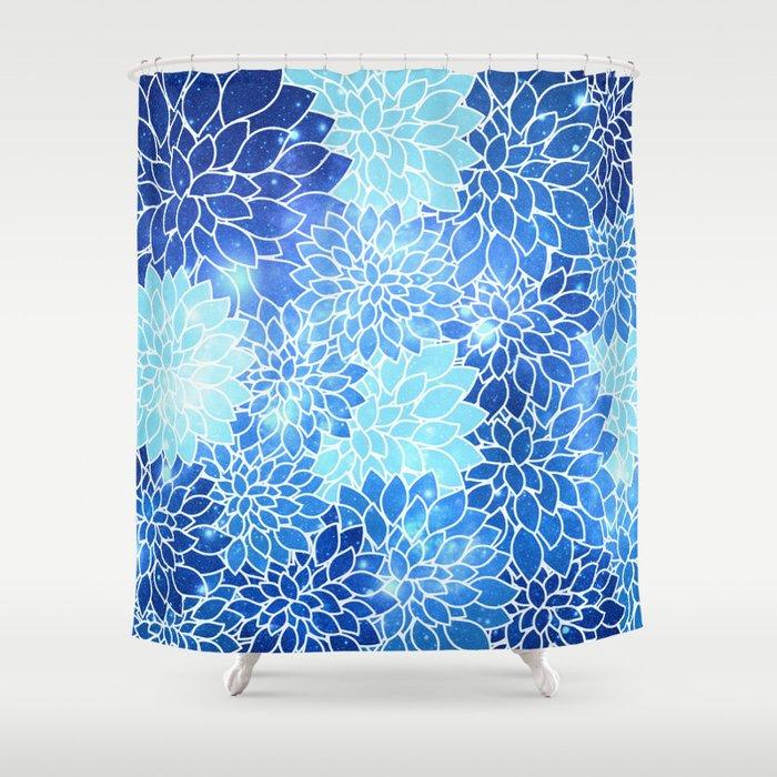 Space Dahlias Sky Blue Shower Curtain By Vintageby2sweet