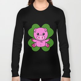 Pig On Four Leaf Clover - St. Patricks Day Funny Long Sleeve T-shirt