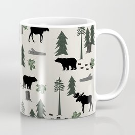 Camping woodland forest nature moose bear pattern nursery gifts Coffee Mug