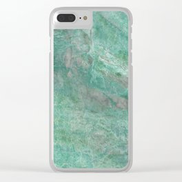 Mossy Woods Green Marble Clear iPhone Case