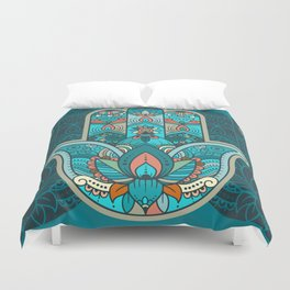 Hamsa Hand of Fatima, good luck charm, protection symbol anti evil eye Duvet Cover