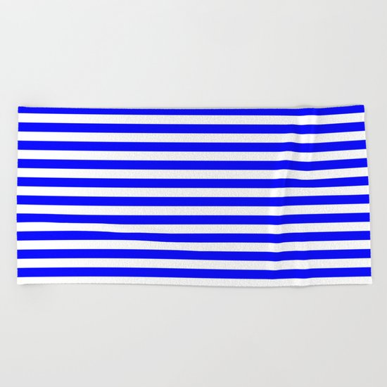 Horizontal Stripes (Blue/White) Beach Towel