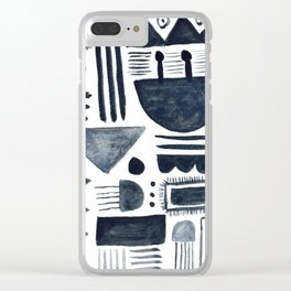 Hand Painted 'Alien Language' Doodle Pattern Black on White Clear iPhone Case