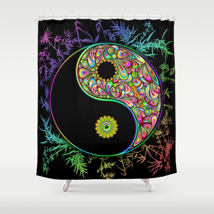 Yin Yang Bamboo Psychedelic Shower Curtain By Bluedarkatlem