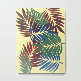 Palm Leaves in Red, Blue and Green Metal Print