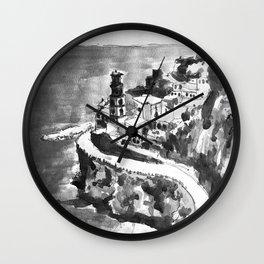 Amalfi Coast Italy Black and White Watercolor Painting Wall Clock