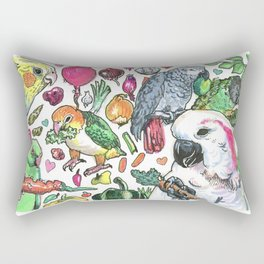 Parrots with Veggies Rectangular Pillow