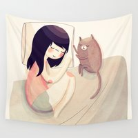 nan lawson Wall Tapestries featuring Best Friends by Nan Lawson